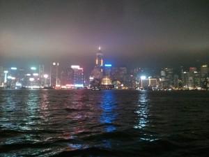 Der Hafen  von Hongkong bei Nacht (Reisetagebuch: Ein halber Tag Hongkong)