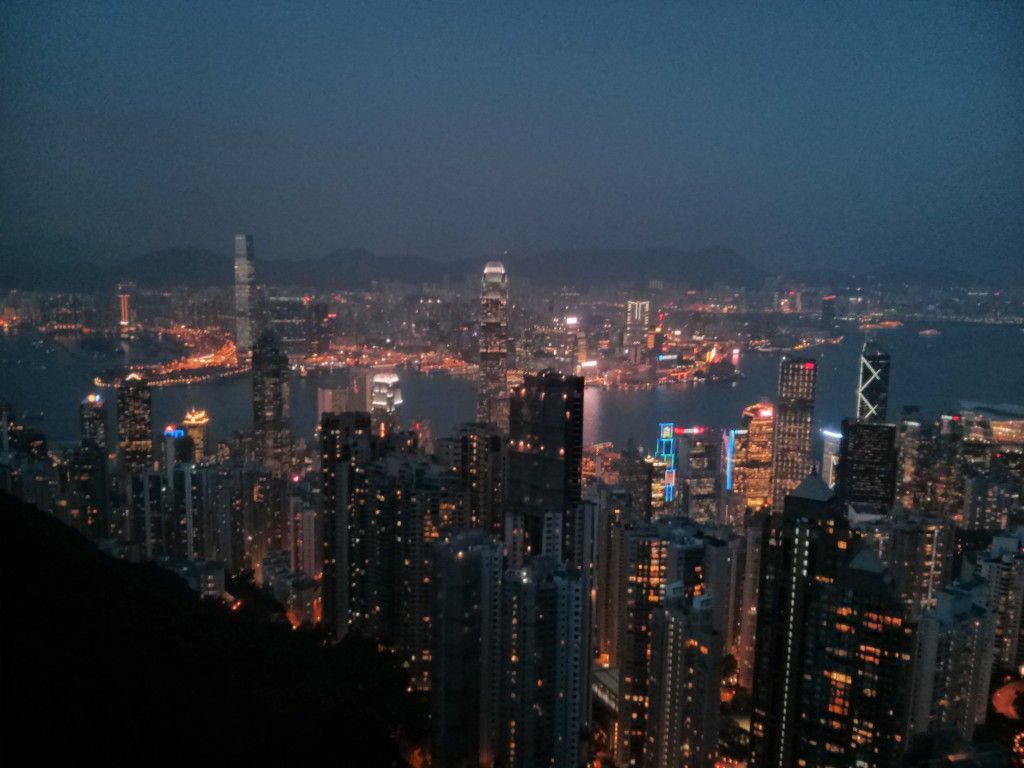 Hongkong Hafen bei Nacht