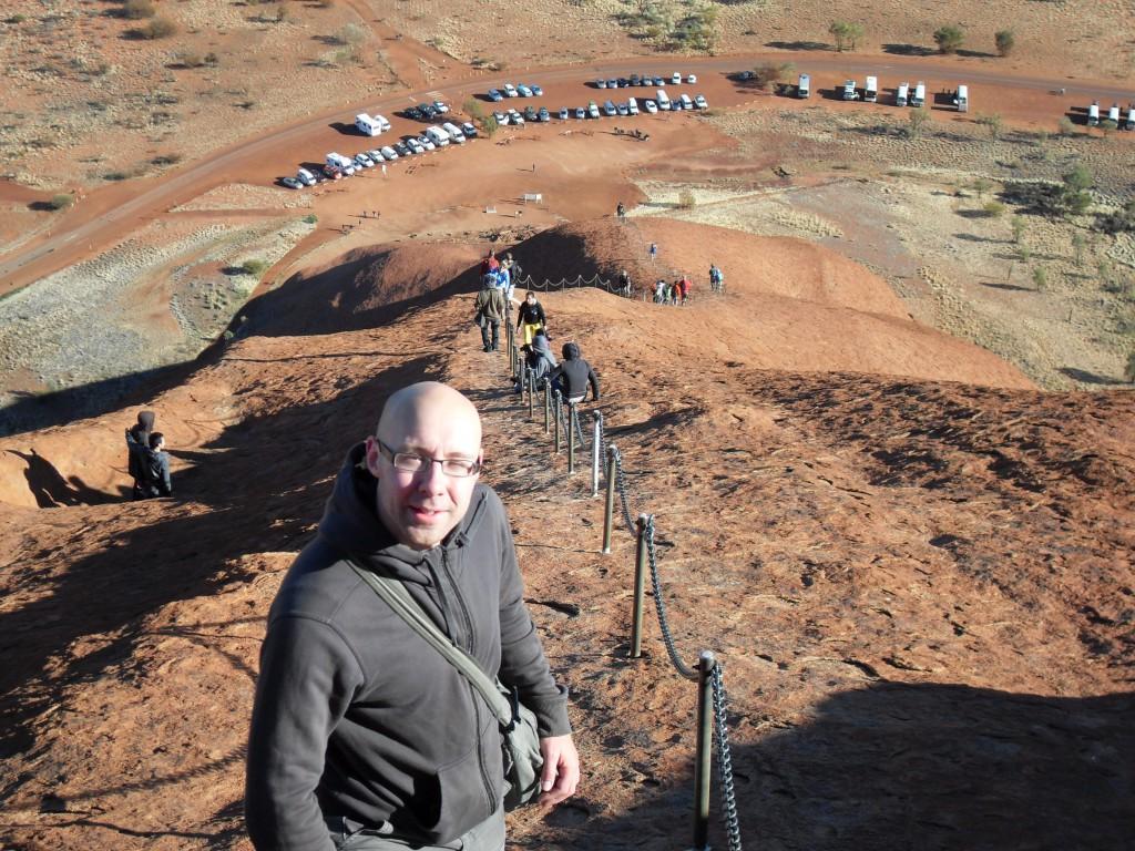 Ich beim Abstieg vom Ayers Rock Uluru Australien