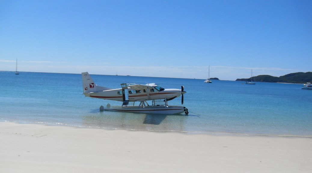 Wasserflugzeug am Whitsunday Beach Australien