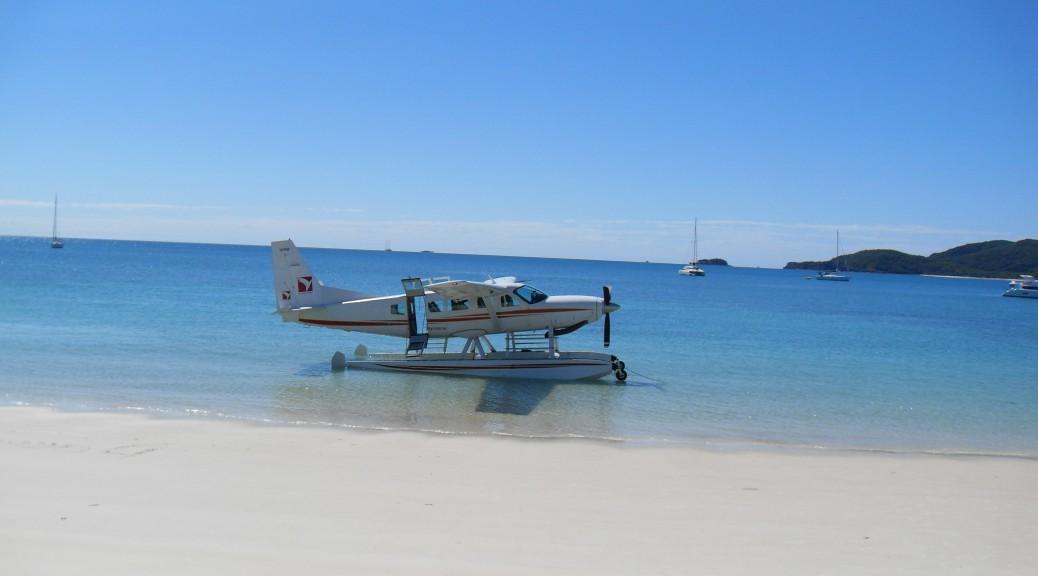 Wasserflugzeug am Whitsunday Beach Australien