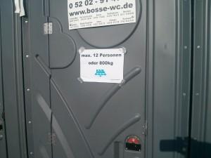 Toilettenschild: Max. 12 Personen oder 800kg