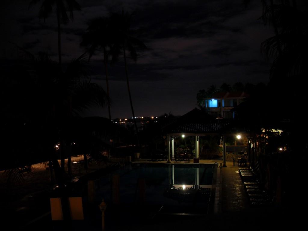 Aussicht aus meinem Zimmer vom Dynasty Resort in Mui Ne bei Nacht