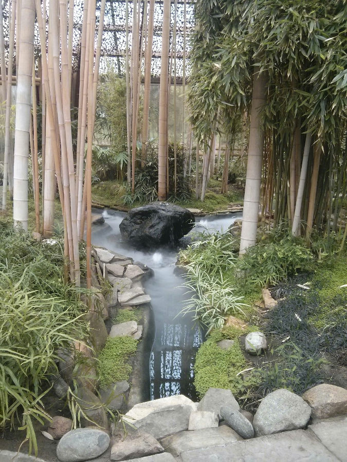 Bambushaus im Garten der Schmetterlinge
