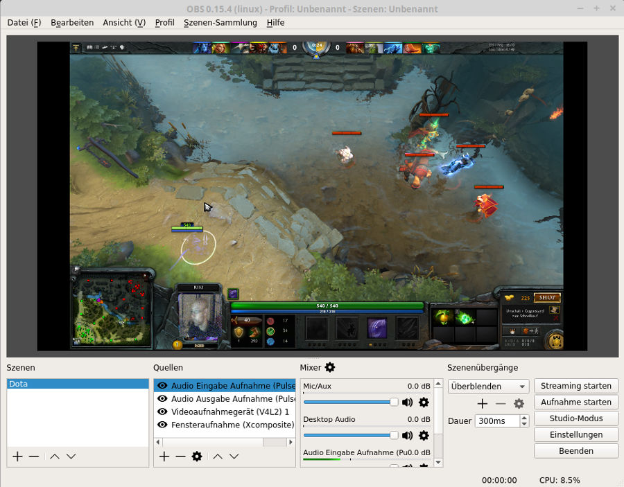 Dota Lets Play wird mit Open Broadcaster Studio aufgenommen