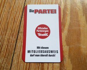 """Die Partei Mitgliedsausweis Parteimitglied (Mitgliedsnummer 25996 – Mein Beitritt in die Partei """"Die PARTEI""""!)"""