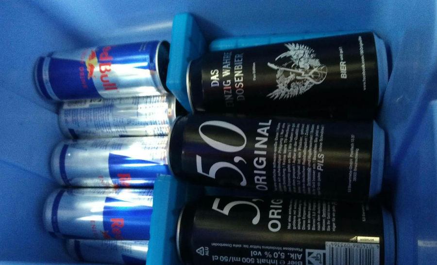 Energy Drinks und Bier Vorrat für den Junggesellenabschied