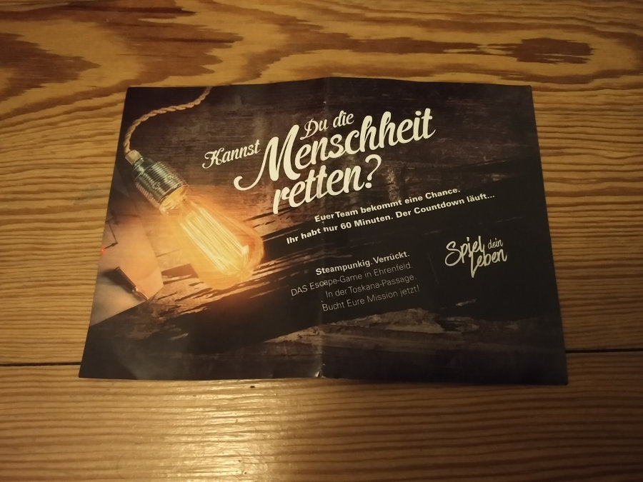 Flyer für das Steampunk Escape Game bzw. den Steampunk Escape Room in Köln