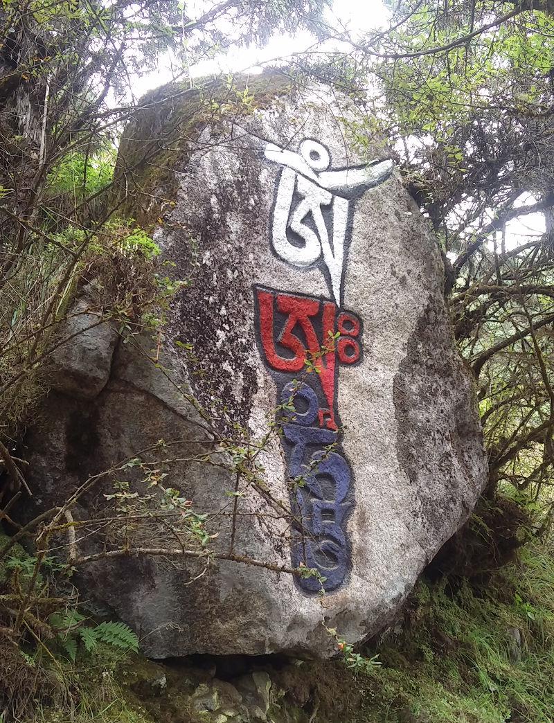 Stein mit Sanskrit Zeichen in Nepal
