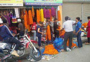 Blumenkettenladen in Kathmandu (Der Flughafen von Lukla und Flug nach Kathmandu)