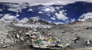 Eis beim Everest Base Camp 360 Grad Panorama Photosphere Aufnahme beim Trekking in Nepal (Beim Mount Everest Base Camp in Nepal)