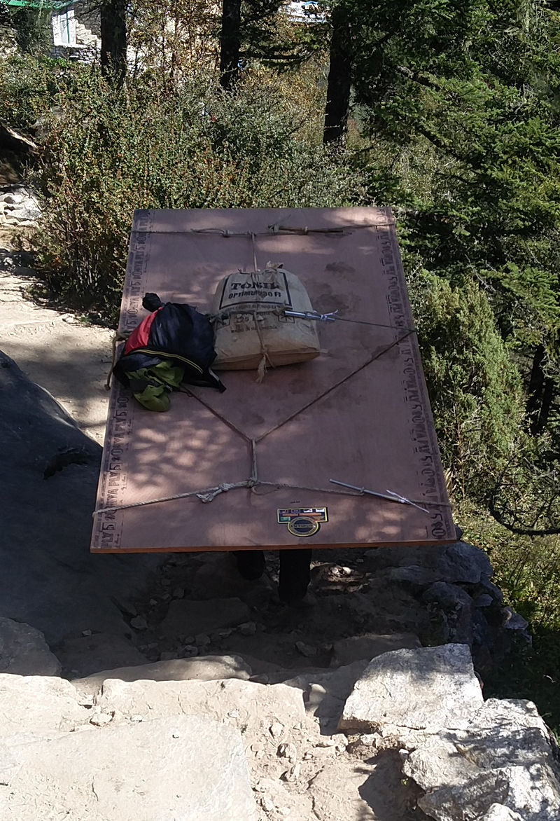 Porter bzw. Träger mit Bauelement in Nepal
