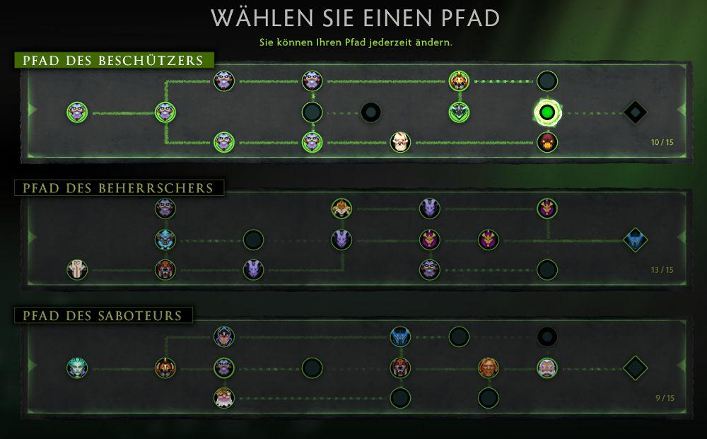 Pfade und Aufgaben des Dota Battle Passes 2016