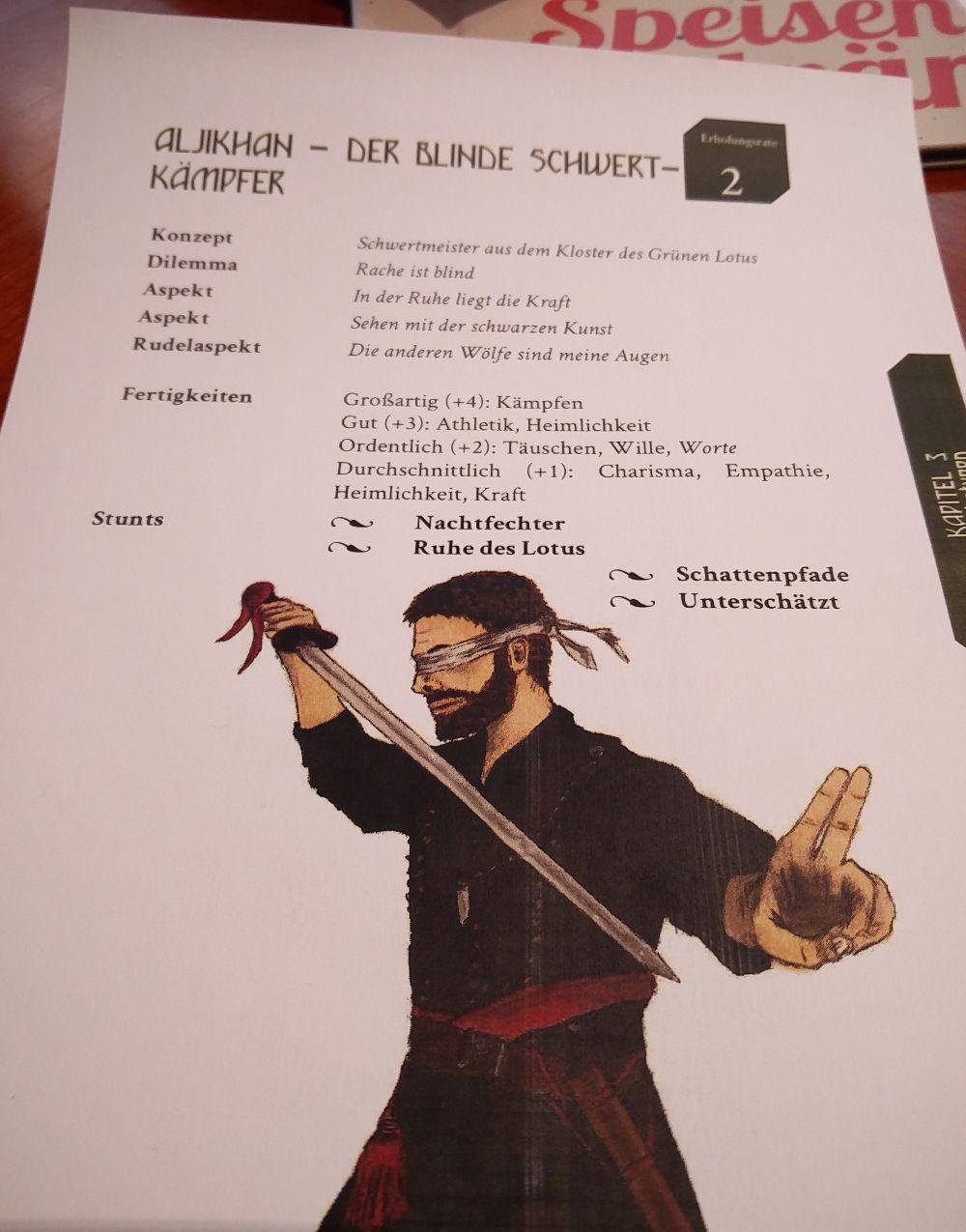 Fate Charakter Aljikhan ein blinder Schwertkämpfer beim Gratisrollenspieltag 2018