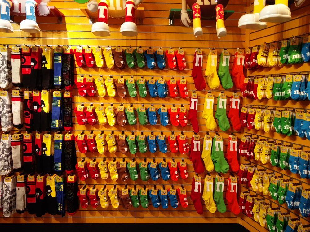 M&M-Socken und andere M&M-Accessoires im M&M-Store in Las Vegas