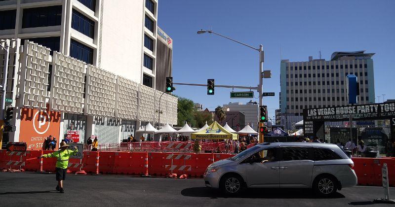 Umleitung durch ein Festival in Las Vegas