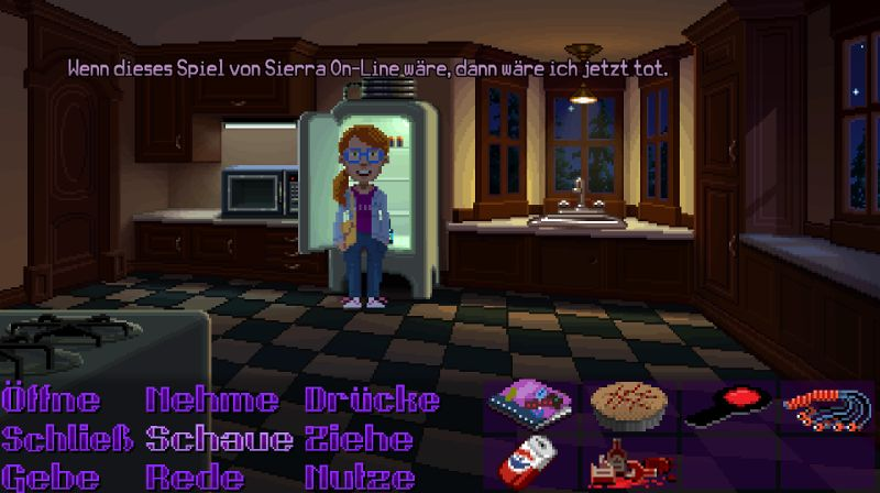 Delores in der Maniac Mansion Küche in Thimbleweed Park