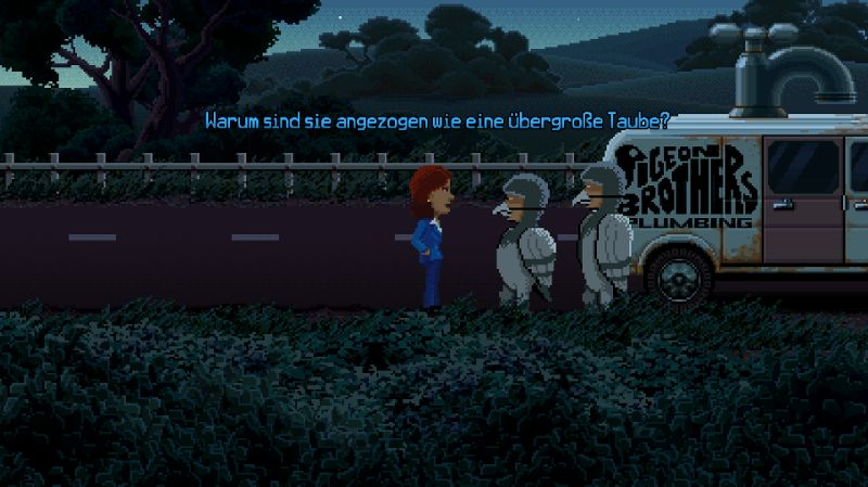 Die Pidgeon Brothers in Die Maschinen Bloodtron 3000, Fingertron 3000 und Facetron 3000 in Thimbleweed Park