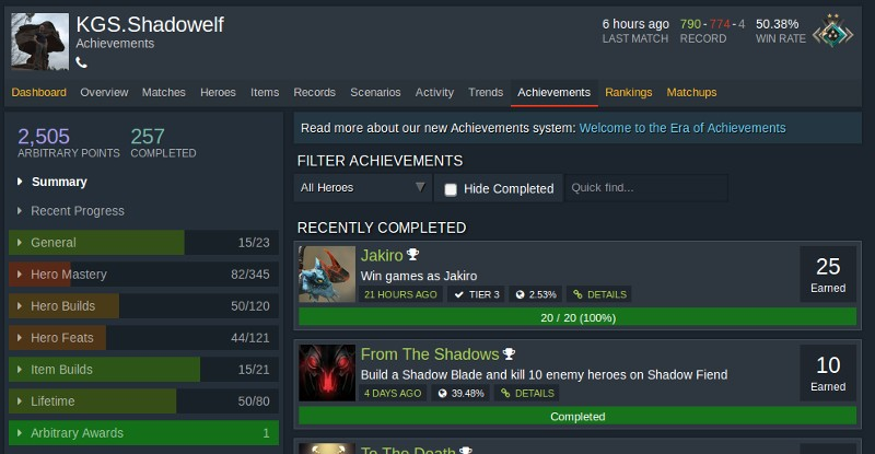 Dota Achievements Shadowelf Stand Anfang 2019