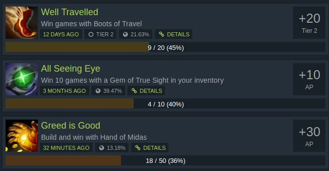 Dota Achievements Item Builds not completed - Hand of Midas