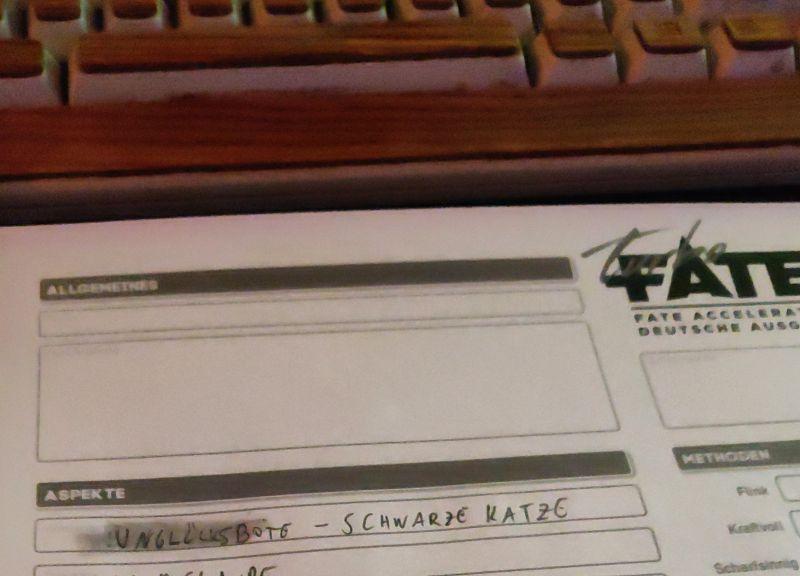 Fate Charakterbogen für die Conspiracy