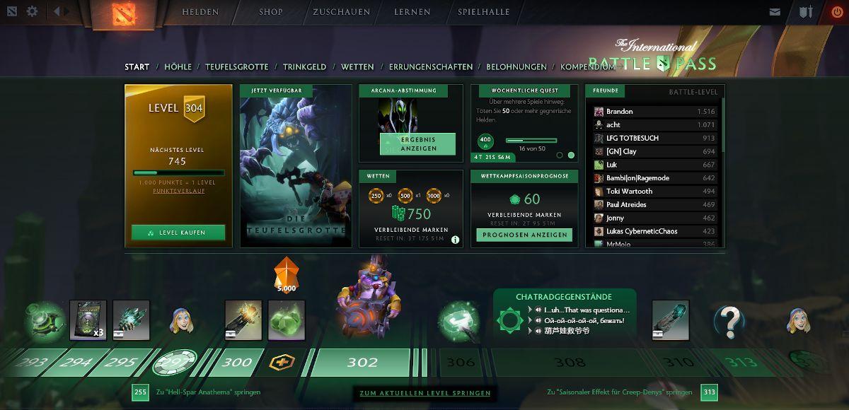 Belohnungen pro Level beim Dota 2 Battle Pass
